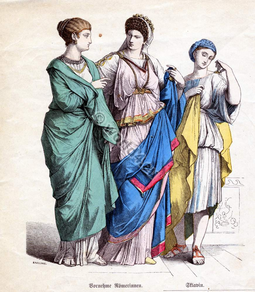 Tunics were dyed in different colors, which were usually bright because Romans loved vibrant varieties of colors